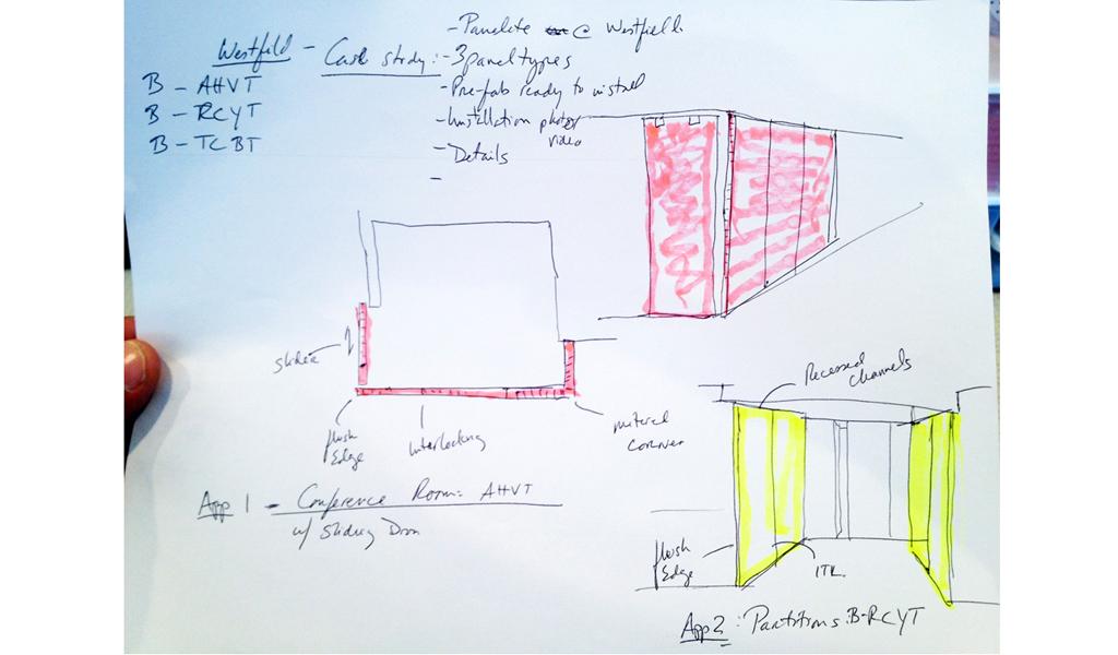 Panelite Bonded Series Partitions Sliding Doors Westfield Los Angeles | Architect's Sketch