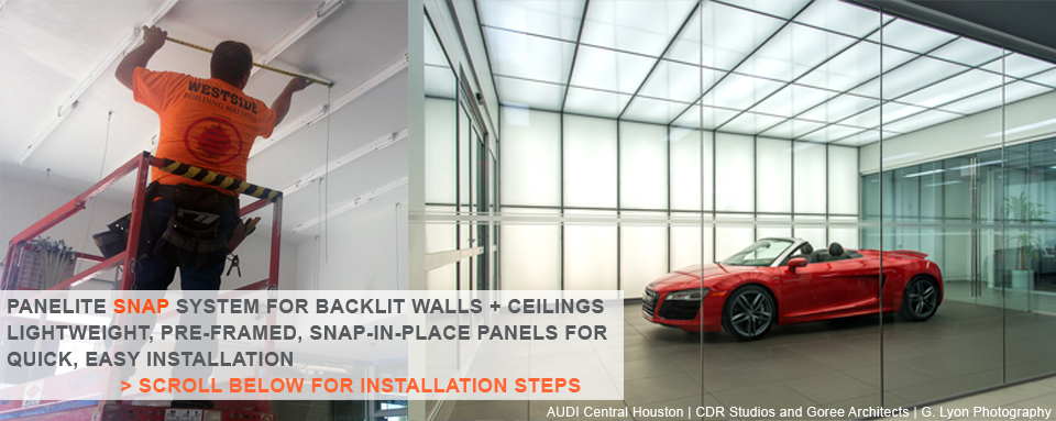 0- Panelite SNAP System for backlit walls and ceilings - quick+easy to install