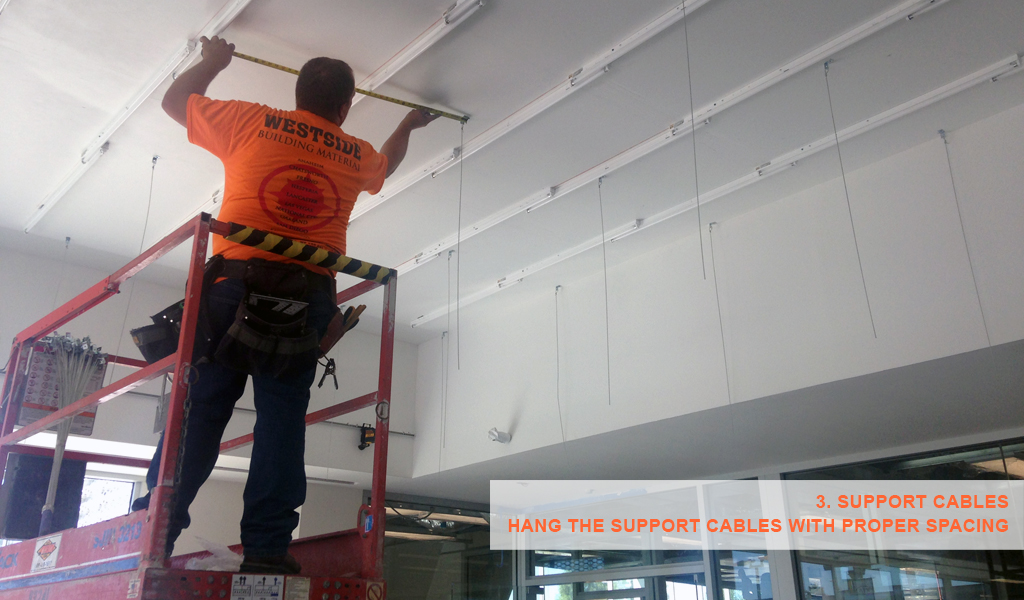 3 - Panelite SNAP System for backlit walls and ceilings - hang support cables with proper spacing