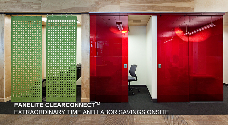 Panelite ClearConnect system for translucent honeycomb panels Google Offices
