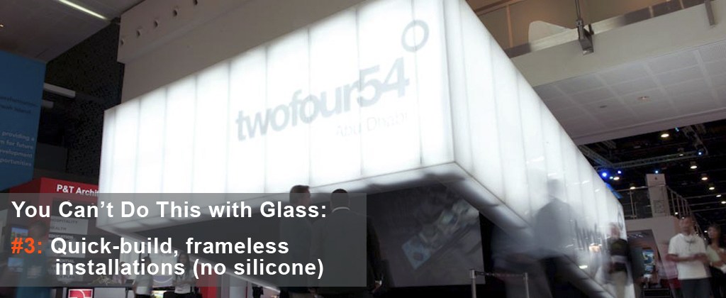 Quick build frameless installations using translucent honeycomb panels | You can'd do this with glass