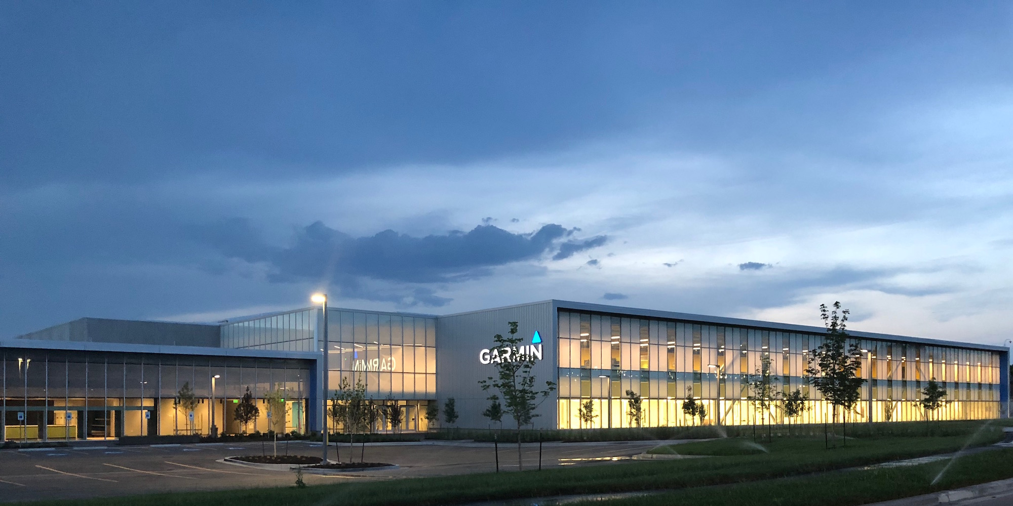 Panelite ClearShade Exterior Facade Glazing Garmin HQ Photo Gould Evans -View ext at night