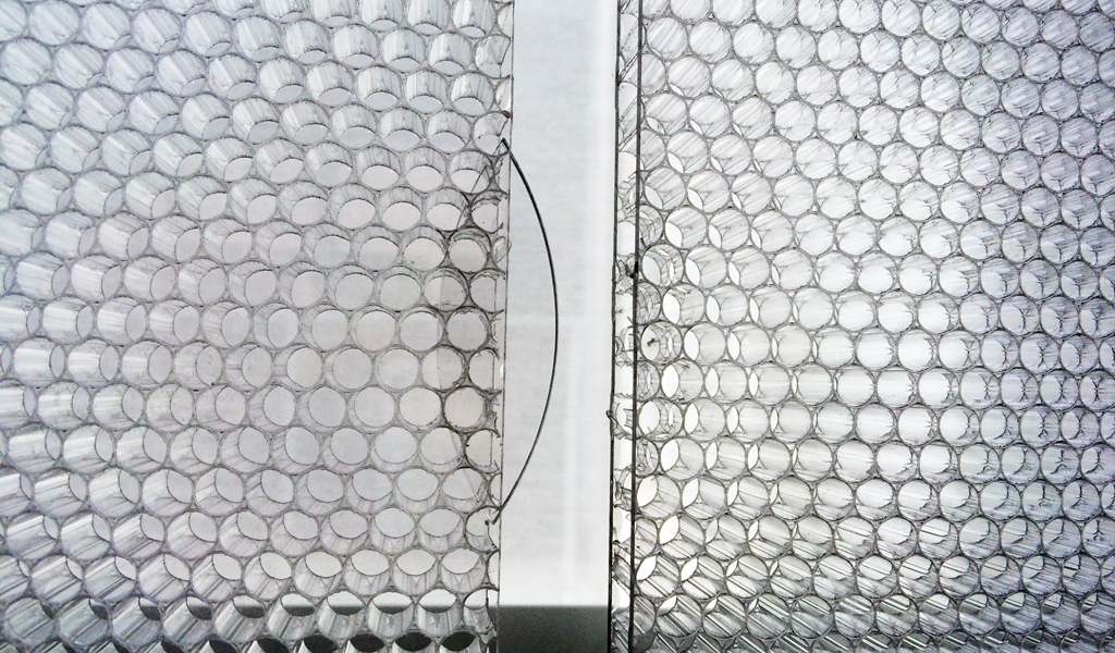 BF-ITL3B TCCT ClearConnect detail for Panelite translucent honeycomb panels elevation angled