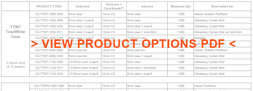 ClearShade product options listing Daylighting Views Solar Heat Control