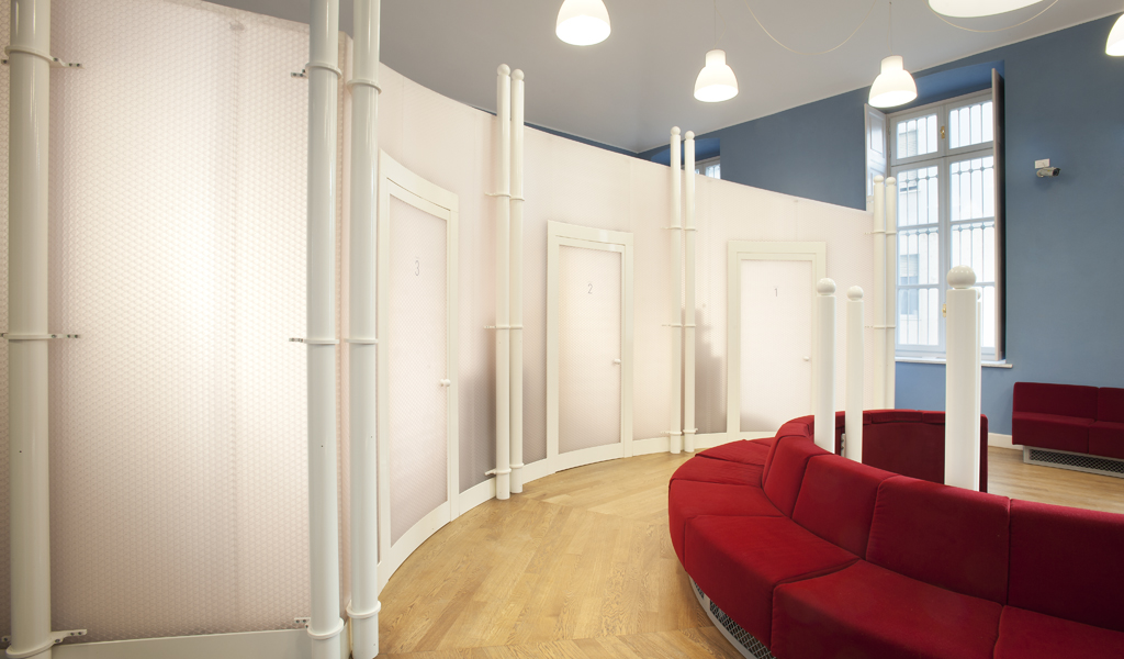 Panelite Bonded Series Partitions | Project: Fondazione San Paolo, Turin, Italy | Curved Translucent Panels