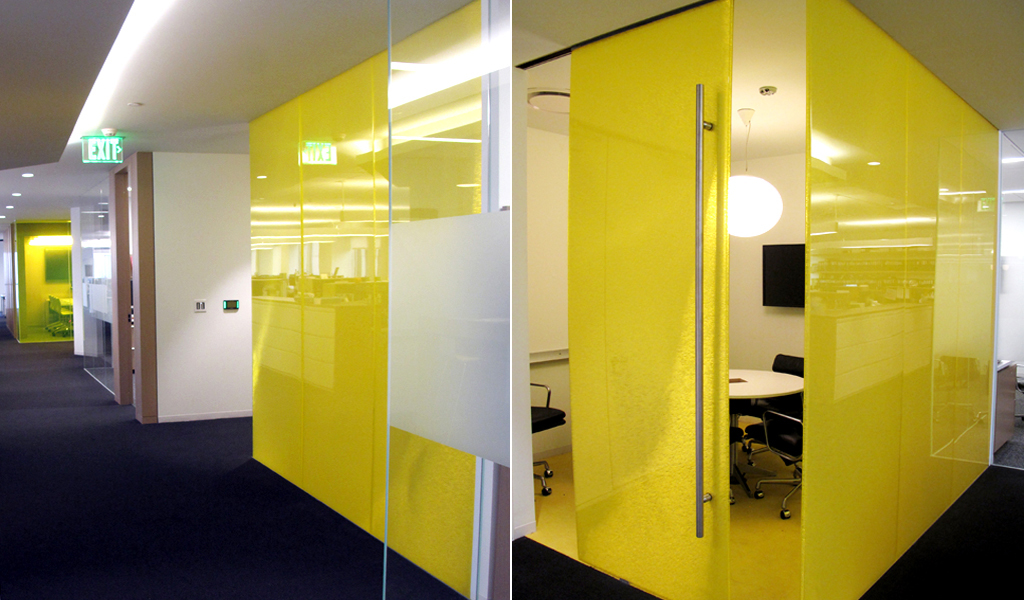 Panelite Bonded Series Panels for Sliding Doors, Partitions| Westfield, Los Angeles | Privacy from close distance and also while looking at an angle