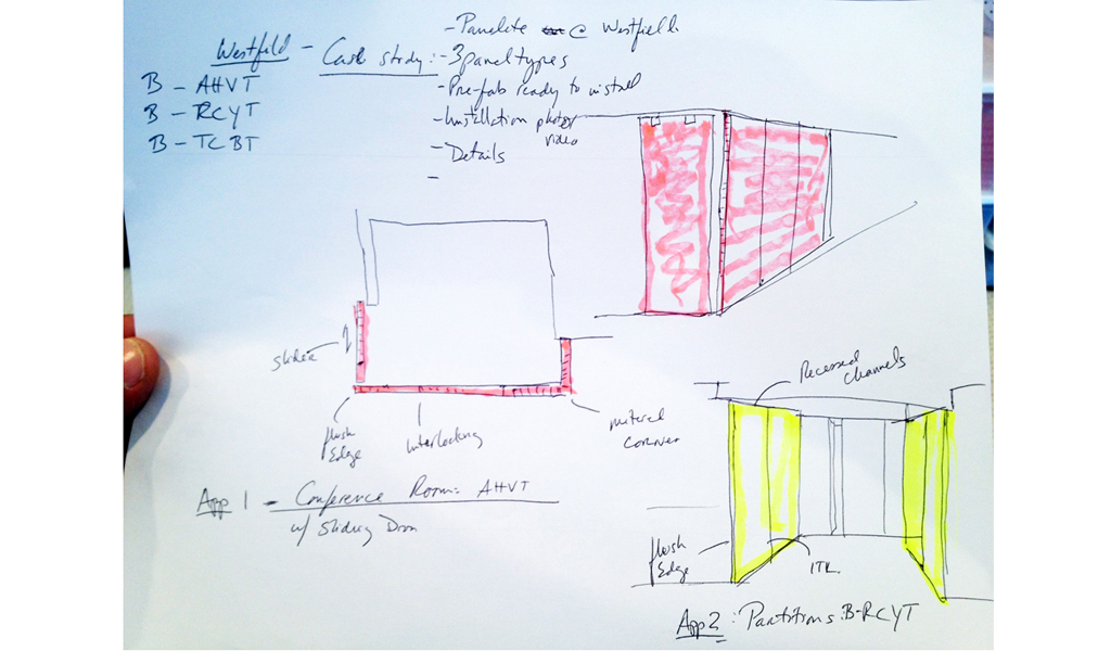 Panelite Bonded Series Partitions Sliding Doors Westfield Los Angeles | Architect's Sketch