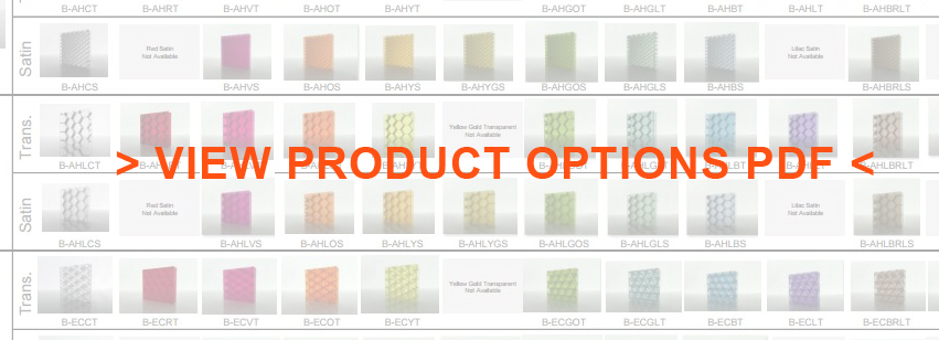 Bonded Series product options listing Translucent Lightweight Honeycomb panels