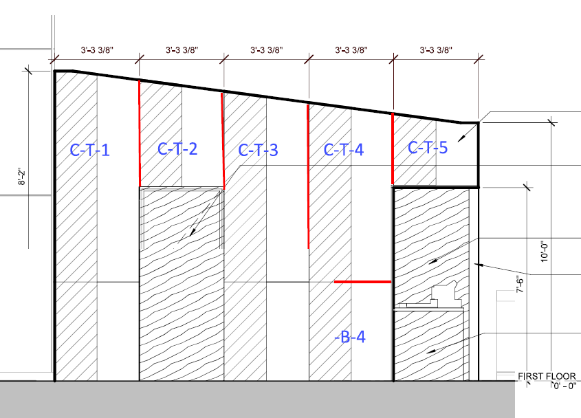 Garrett Popcorn Shop - Side Elevation - Layout of Bonded Series Panels