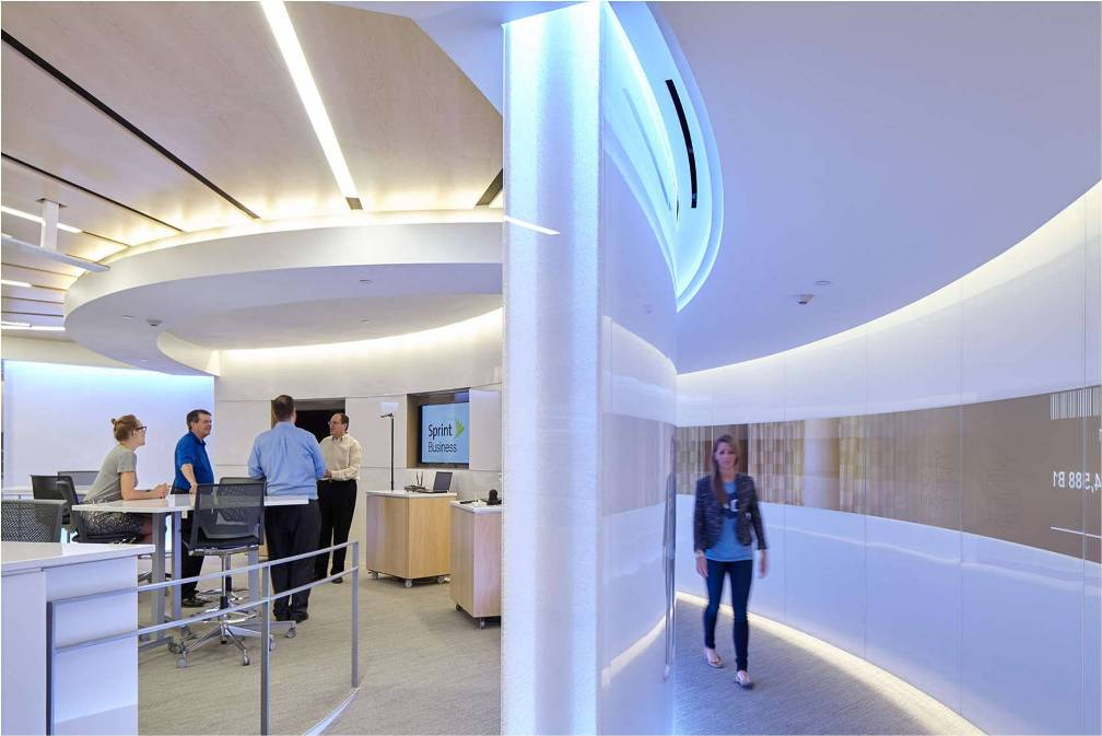 Sprint Executive Briefing Center - Curved Bonded Series Panels - Backlit Walls