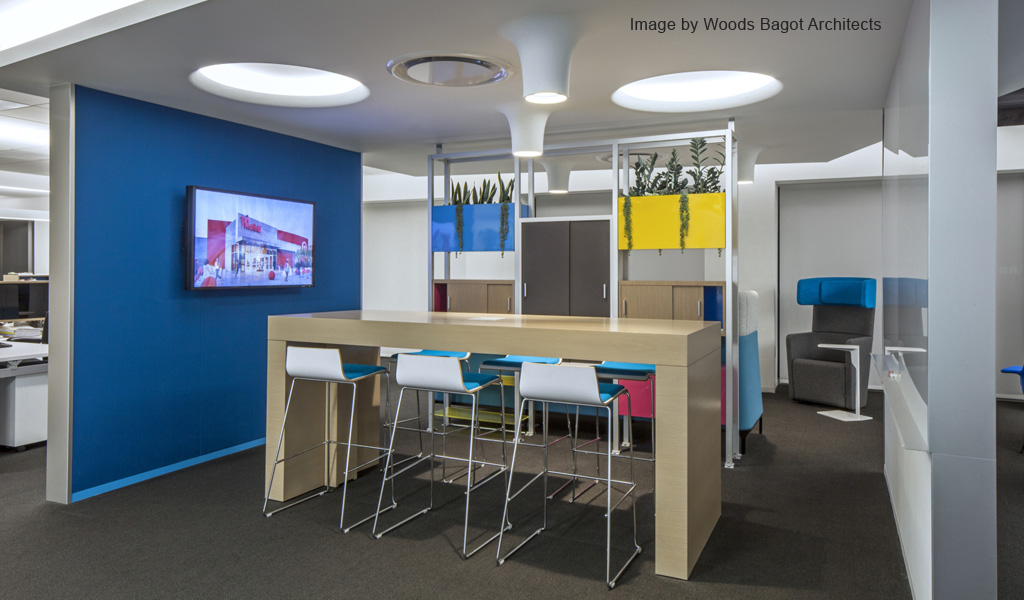 Vibrant CMYK based color palette at Westfield Corporation Headquarters, Century City, LA | Architect: Woods Bagot | Panelite case study