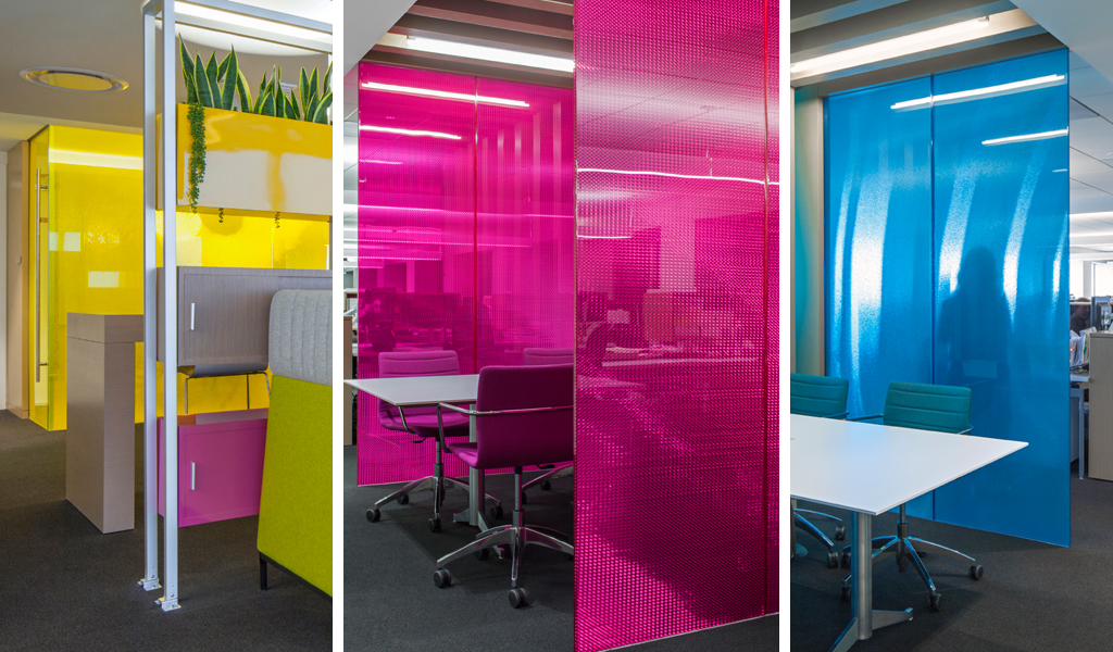 Westfield - Panelite honeycomb partitions for collaborative workplace privacy and views bold colors