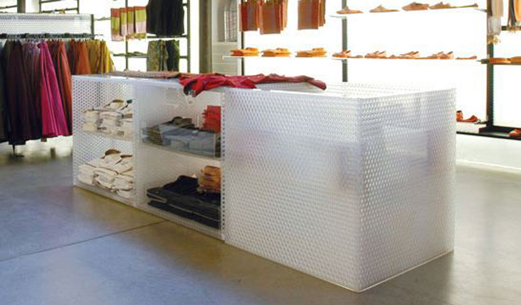Prefabricated mitered corners are ideal for retail fixture applications.