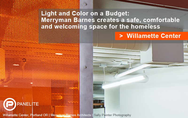 PROJECT: Willamette Center | Light-transmitting Self-structural Honeycomb Panels for an Oversized Sliding Door | Color on a Budget | Panelite Bonded Series Interior Panels