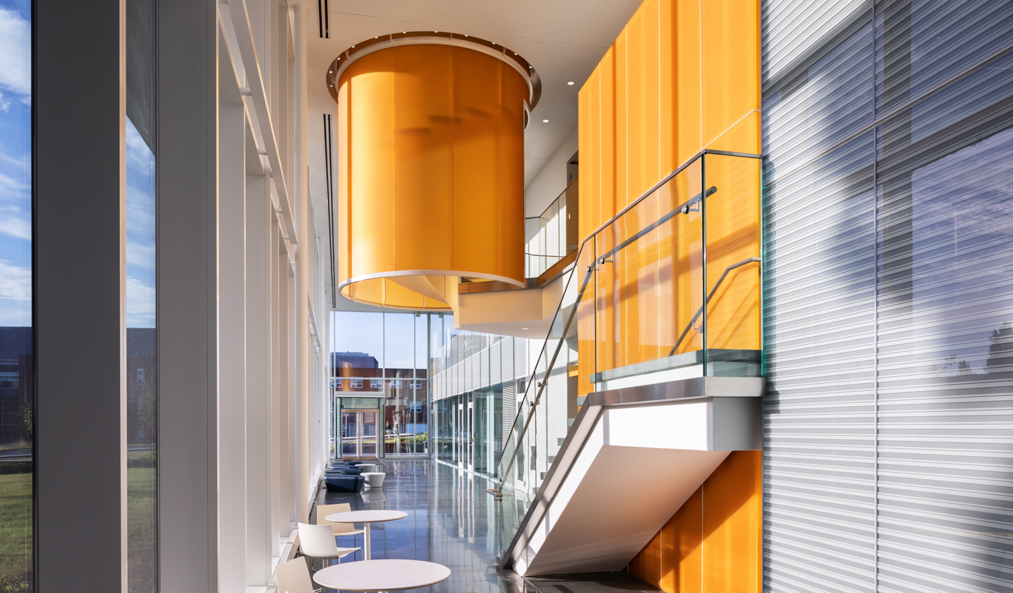 University of Rhode Island Fascitelli Center Ballinger - translucent honeycomb stair enclosure